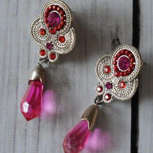 vintage 90's pink rhinestone drop earrings